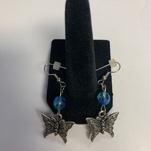 Pretty silver & blue butterfly earrings